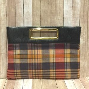 St Thomas Plaid Preppy Brass Handle Clutch Bag